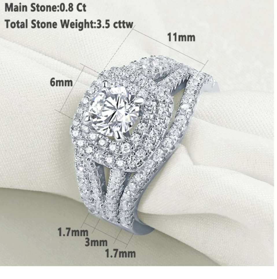 Double Square Halo 2 Carat Cubic Zirconia 925 Sterling Silver Ring 3pcs Set