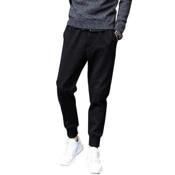 Summer Men Casual Harem Pants Black Jogger Fitness Loose Long Pants Comfortable Drawstring Trousers M