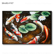 Chinese Style Design 9 Fishes Oil Painting Hand-painted High Quality Carp for Friend Best Gift