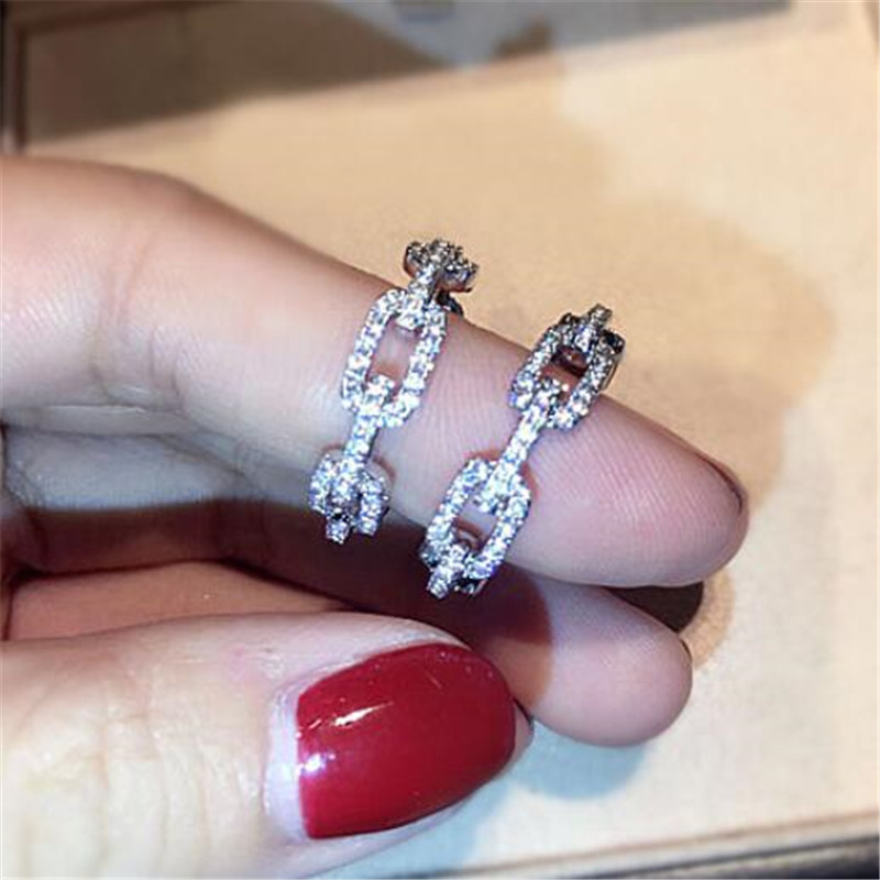 Unique Classical Fashion Jewelry 925 Sterling Silver Link Chain Ring White 5A Zircon Pave CZ Women Wedding Finger Rings Gift