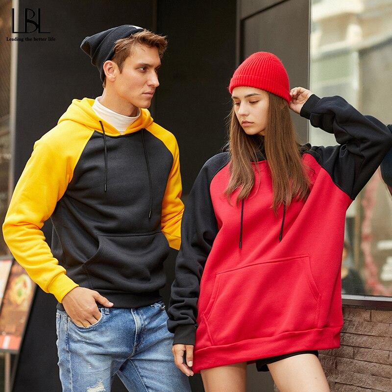 Patchwork Hoodies Sweatshirts Women Men Autumn Winter Casual Pullover Top Hooded Sweatshirt Female Hoodie Sudadera Plus Size XXL