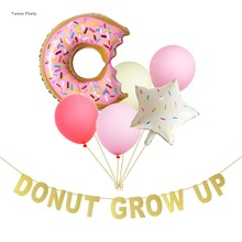 Twins Party Donut Grow Up Foil Birthday Decoration Kids 1st Banner Wedding Summer