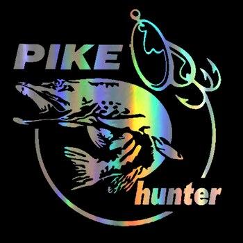DAWASARU Car Sticker Vinyl Pike Hunter Fish Animal Funny Sticker Decal Reflective Laser Motorcycle Car Styling 3D Decal 13*14CM car styling atv sbk motorcycle car sticker vinyl decal reflective for forever senna ayrton