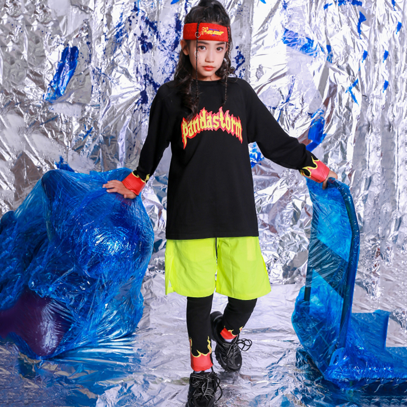 Child Hip Hop Dance Costumes Black Flame Print Street Dancing Clothes Kids Rave Outfit Boys Girls Stage Performance Wear DN5000