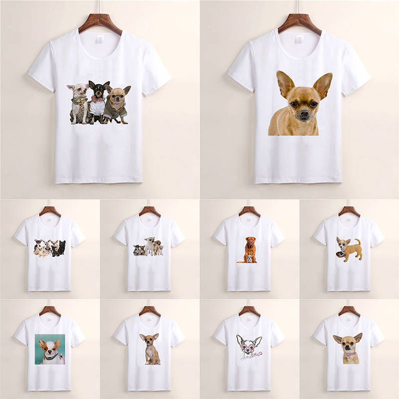 New Fashion Summer T-shirt Lovely Dog Chihuahua Harajuku Short Sleeve O-neck Casual Lovely Tees Cool Top TX34