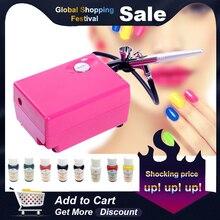 Набор аэрографа для дизайна ногтей, воздушная щетка с компрессором+ 8 цветов, новейшие чернила для ногтей, для красоты ногтей