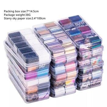 10 unids/set * 2,5*100cm holográfica lámina de transferencia de manicura pegatinas de papel estrellado AB Color UV envolturas de Gel de uñas adhesivo calcomanías