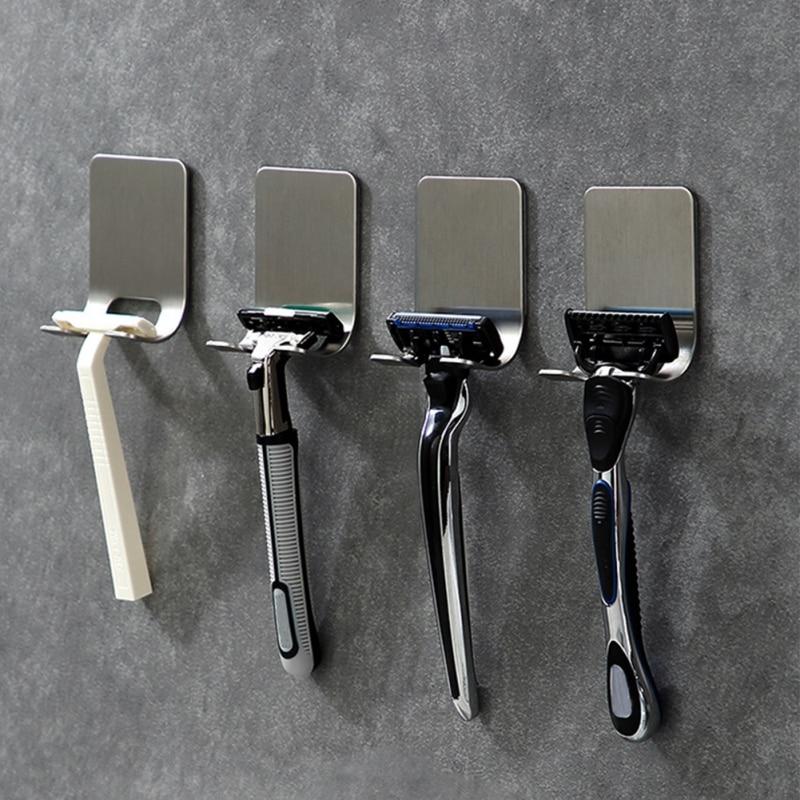 Stainless Steel Shaver Holder Wall-mounted Punch-free Shaver Holder For Men Bathroom Viscose Razor Hook Shaving Razor Rack