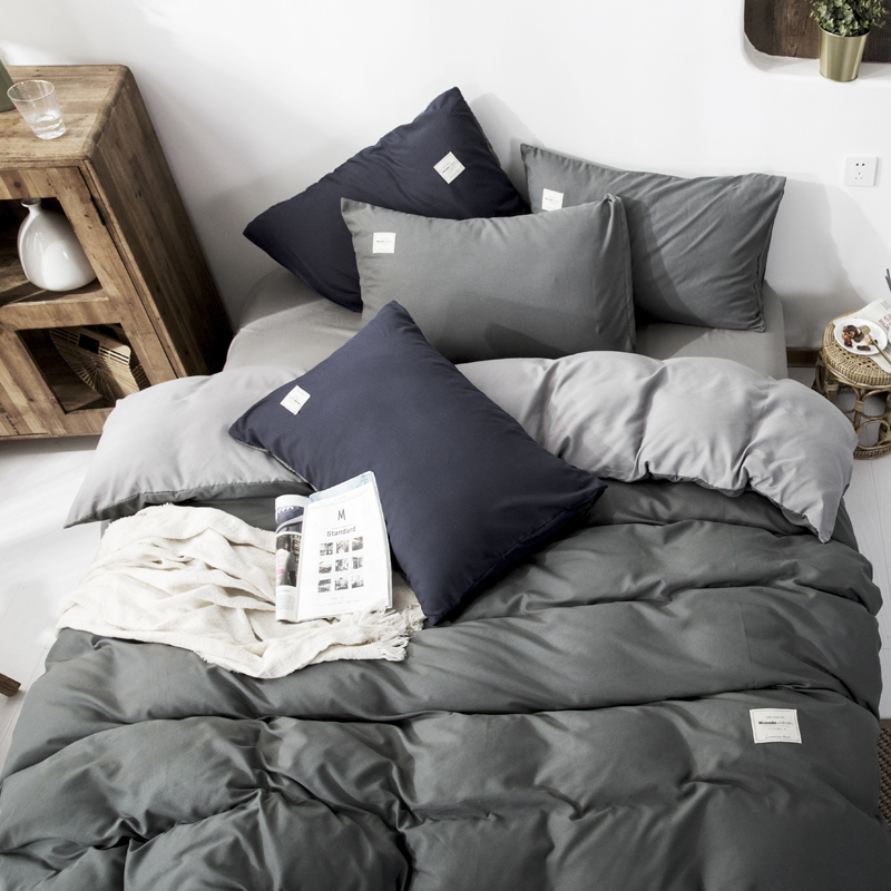 New Arrival Home Textil Classical Double sided Bed Linings Concise Style Bedding Set Quilt Cover Pillowcase Cover Bed 4pcs/set