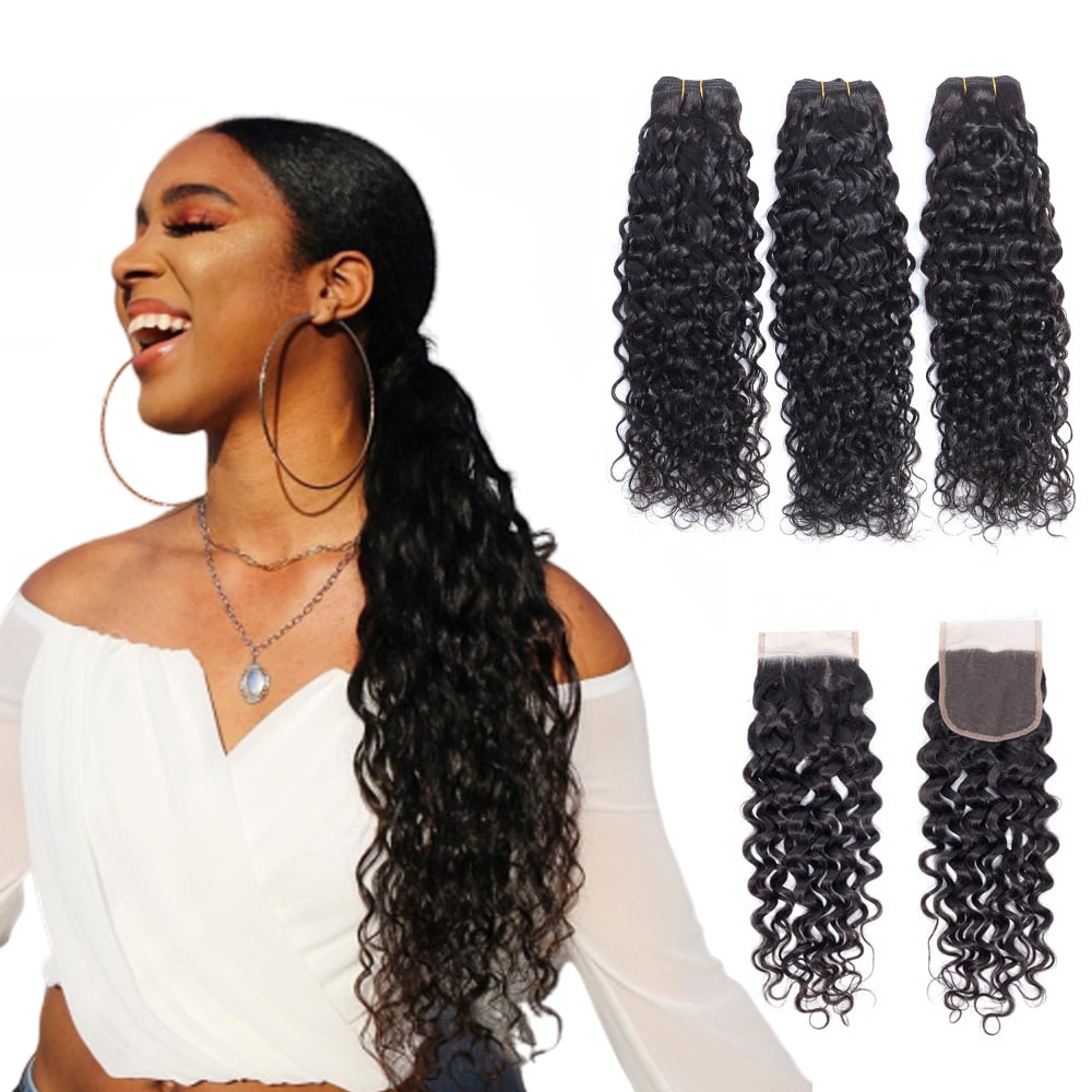 Water Wave Bundles With Closure Malaysian Human Hair Bundles With Frontal Riverwood M Remy 3 Bundles Hair With Closure