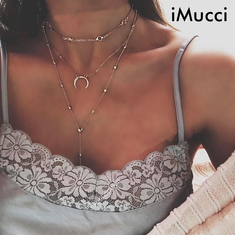 iMucci Golden crystal Necklace Women Elephant Moon Elemental Pendant Multilayer Necklaces Sexy Clavicle Chain(China)