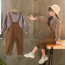 Kids Outfits For Girls Fashion Clothing Sets Spring Overalls + Plaid Top Two-piece Set Children Suits Little Girl Set 8 years shein apricot appliques button top and shorts elegant girls clothing two piece set 2019 spring fashion vintage children clothes