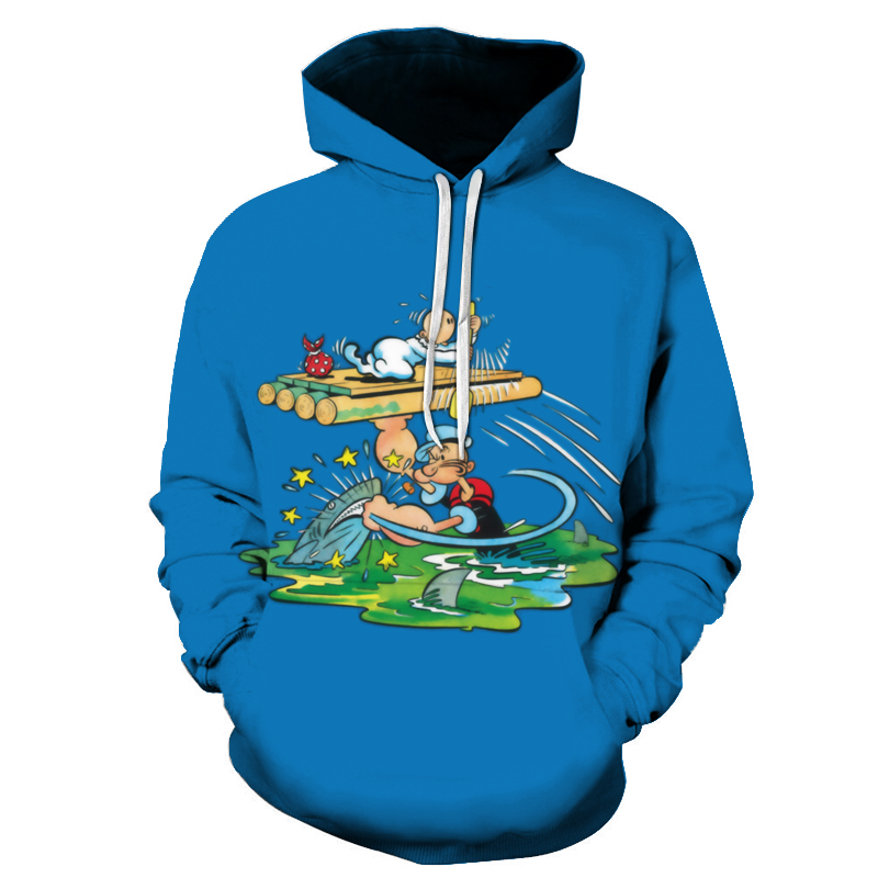 Fashion Casual Breathable Popeye And Ghost 3D Printed Pattern Tops 2019 Latest Men 3D Printed Tops Spring And Fall Hooded Tops