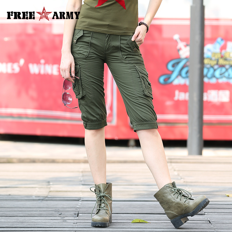 Image 4 - Высокое качество модные камуфляжные шорты модели Женские  панталоны Cortos Mujer летние женские камуфляжные шорты до колена Gk  9388shorts runningshorts womenshorts rompers for women