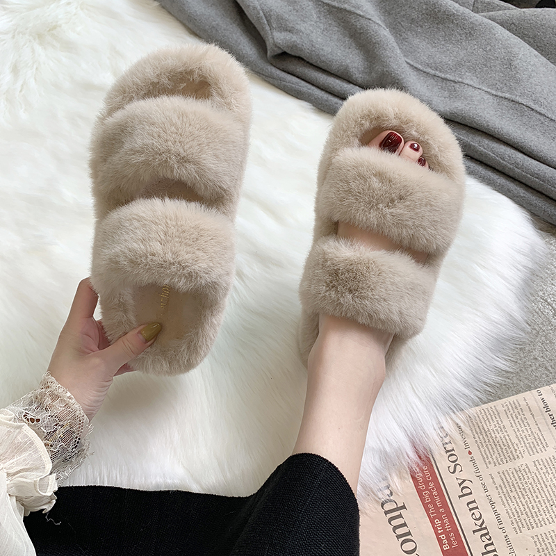 Fuzzy Slippers Flats Warm-Shoes House Faux-Fur Pink Female Black Cozy Home Winter Fashion title=