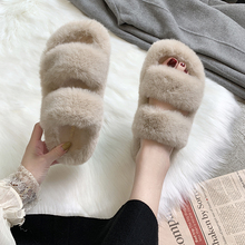 Winter Women House Fuzzy Slippers 2019 Faux Fur Fashion Warm Shoes Woman Slip on