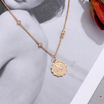 12 Constellations Coin Pendants Necklace Gold Zodiac Sign Aries Leo Necklace Women Jewelry Twelve Horoscope Clavicle Necklace 4
