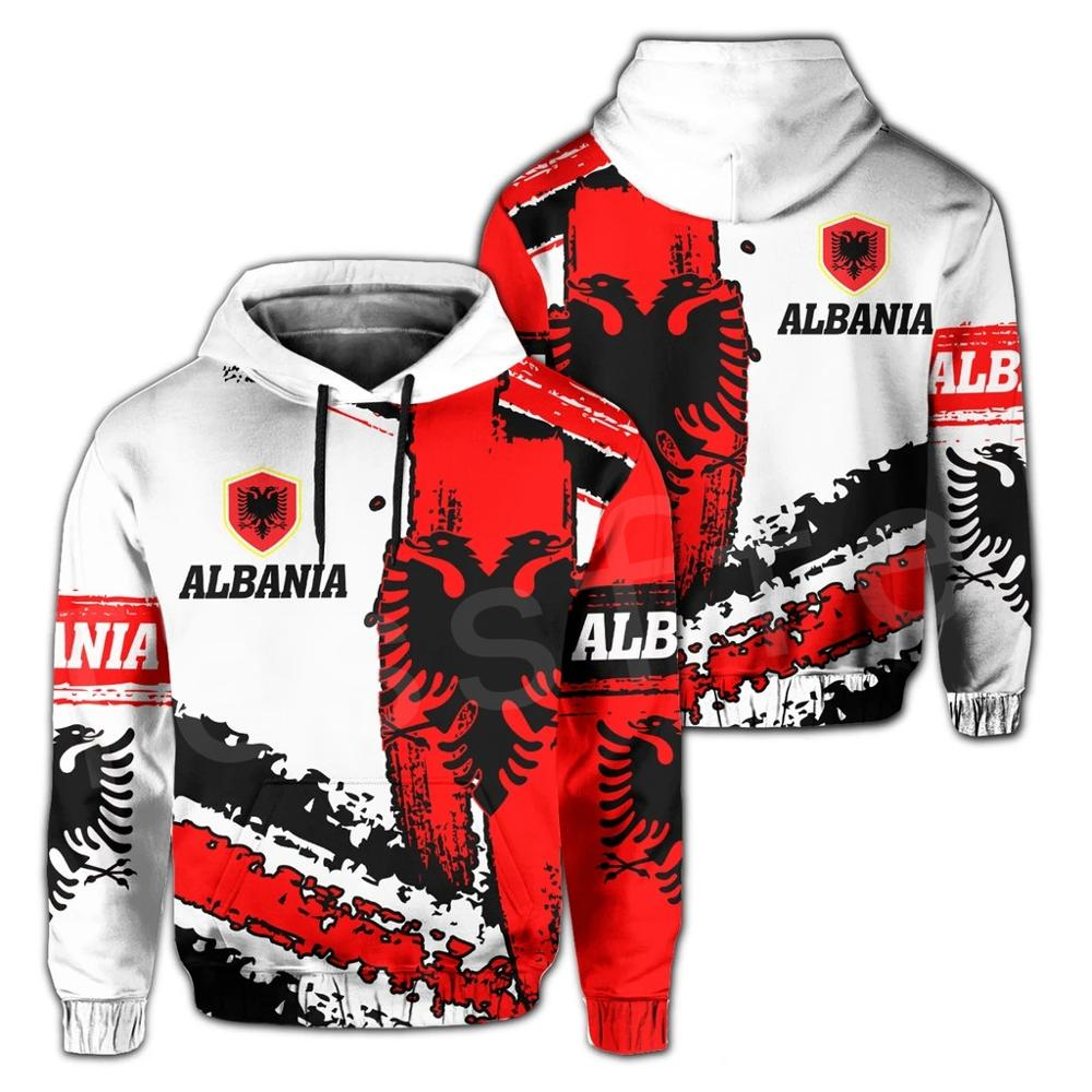 Tessffel Newest Albania Country Flag NewFashion Pullover Long sleeves Funny Tracksuit Unisex 3DPrint Zipper/Hoodies/Jacket A-8
