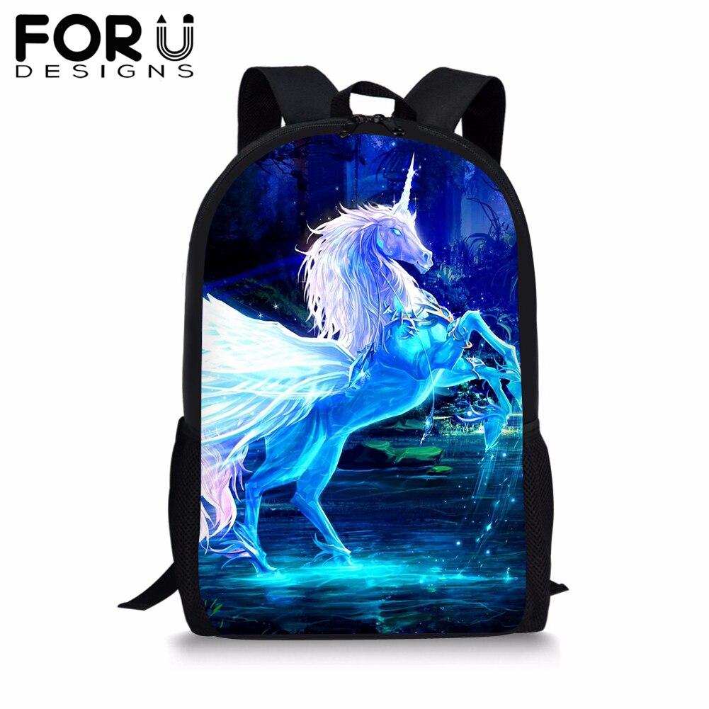 FORUDESIGNS Unicorn School Bag For Girls Boys Fashion Large Schoolbag Portfolio Galaxy Backpack Satchel Book Racksack Wholesale in School Bags from Luggage Bags
