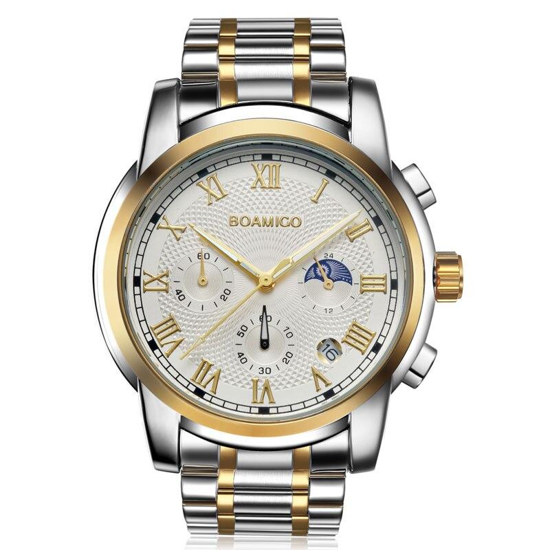 2019 New Watches Men Luxury Brand BOAMIGO Chronograph Men Sports Watches Waterproof Full Steel Dress Fashion Quartz Men's Watch