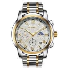 2020 새로운 시계 남자 럭셔리 브랜드 BOAMIGO 크로노 그래프 남자 스포츠 시계 방수 전체 스틸 드레스 패션 쿼츠 남자 시계