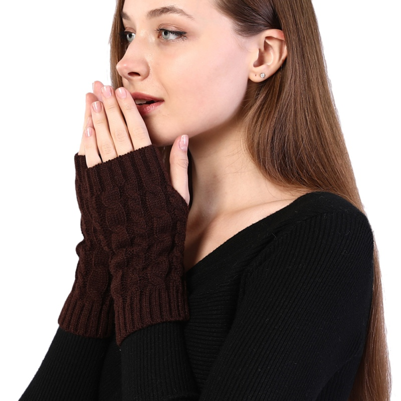 Arm Warmers Winter Women Combing Fine Wool Cable Fingerless Gloves Thick Soft Knitted Woolen Thumb-hole Arm Sleeve