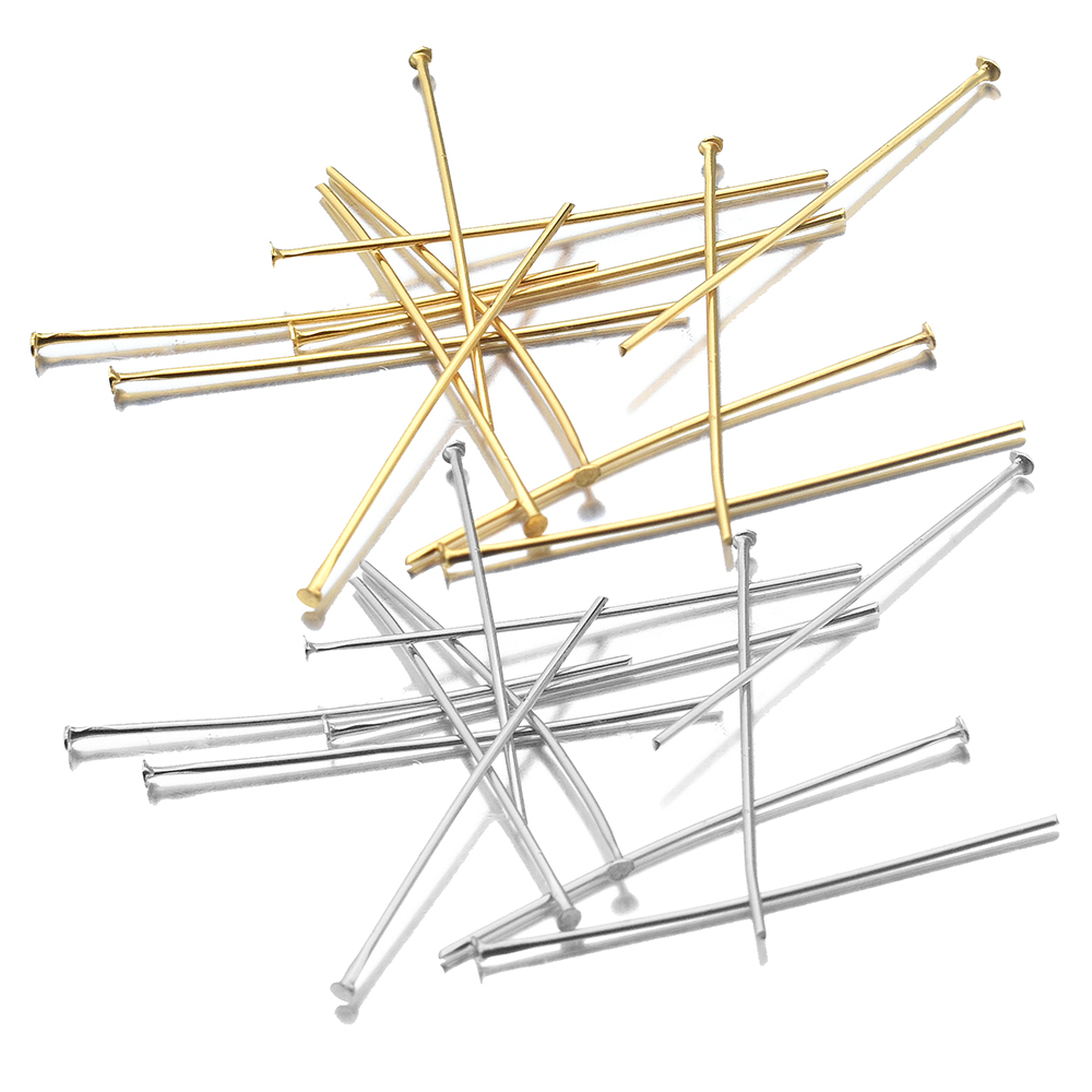 Aiovlo 50pcs/lot Length 20 30 45 50 mm Stainless Steel T word Head Pins for Diy Jewelry Making Head Pins Findings Dia 0.7/0.6mm(China)
