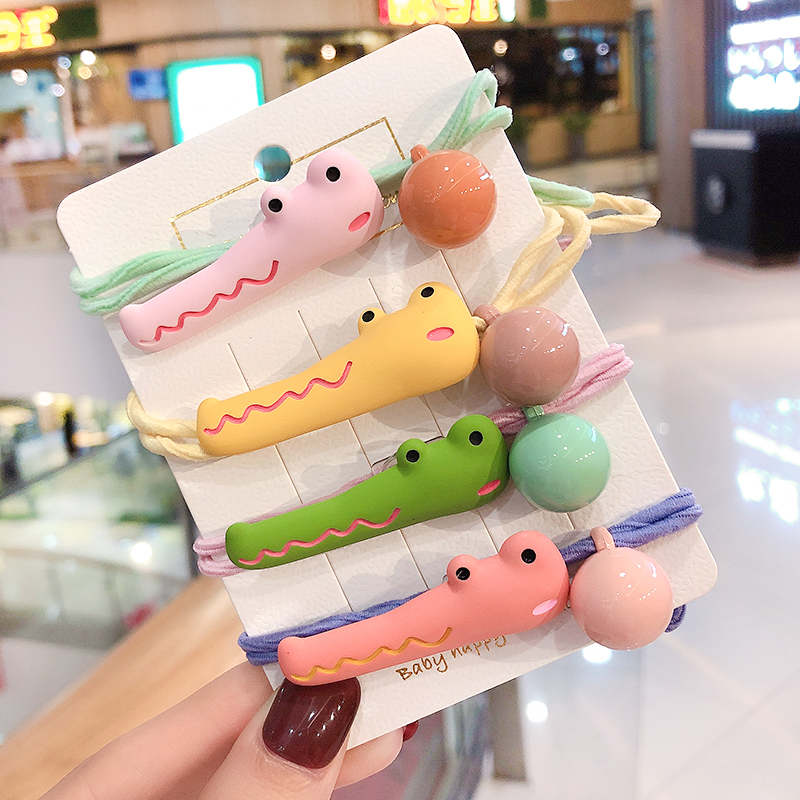 New Girls Cute Cartooon Crocodile Scrunchies Rubber Bands Children Colorful Acrylic Ball Elastic Hair Bands Kid Hair Accessories