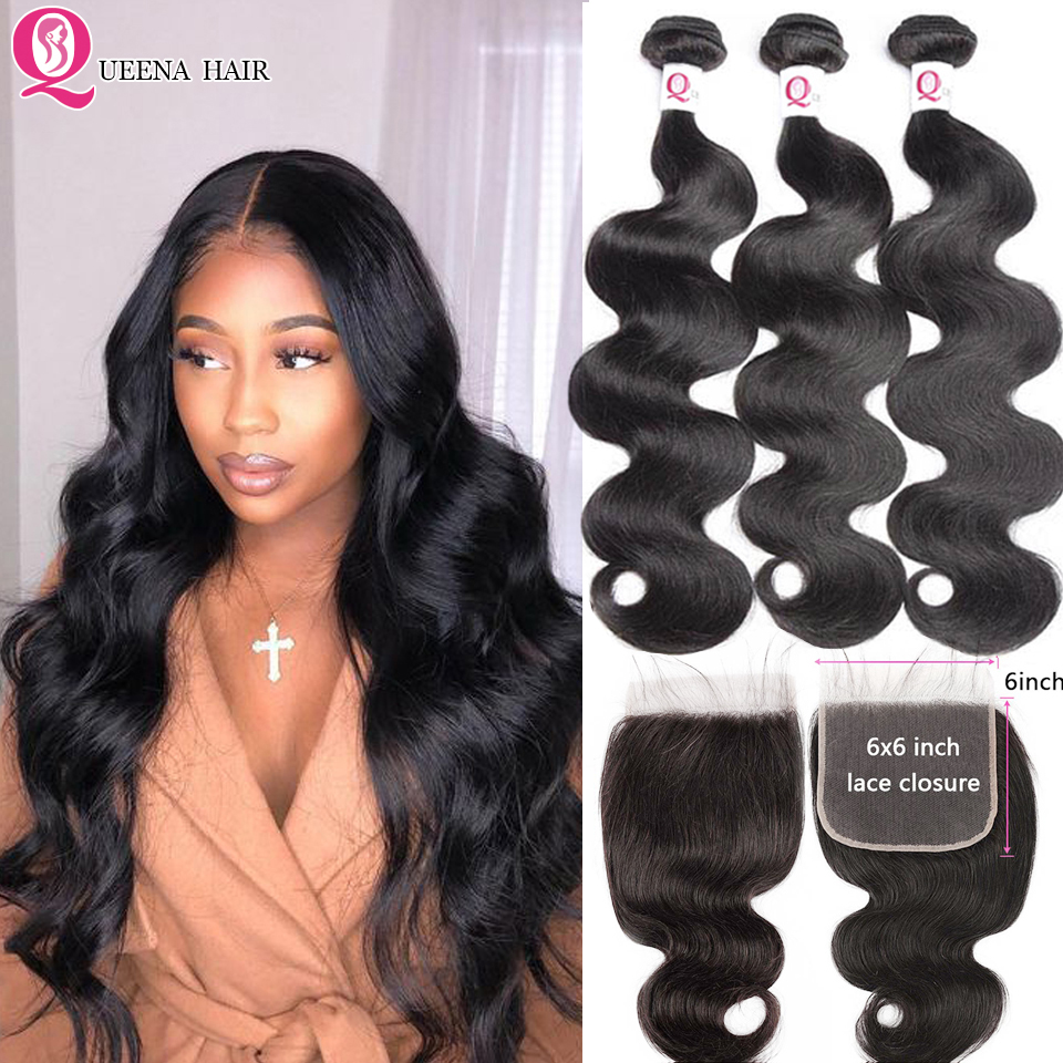 6x6 Closure With Bundles Peruvian Body Wave Human Hair Bundles With Closure Remy 3 Bundles With Closure Transparent Swiss Lace