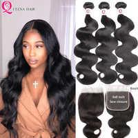 6x6 Closure With Bundles Peruvian Body Wave Human Hair Bundles With Closure Remy 3 Bundles With Closure Transparent Swiss Lace