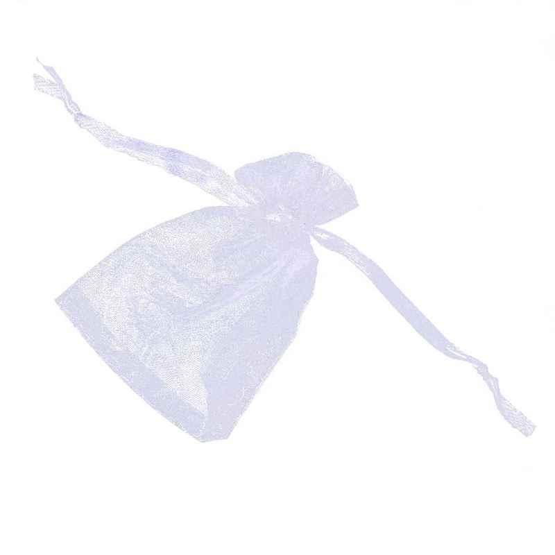50 шт белые подарочные сумки из органзы на шнурке, свадебные подарочные сумки 7x9 см