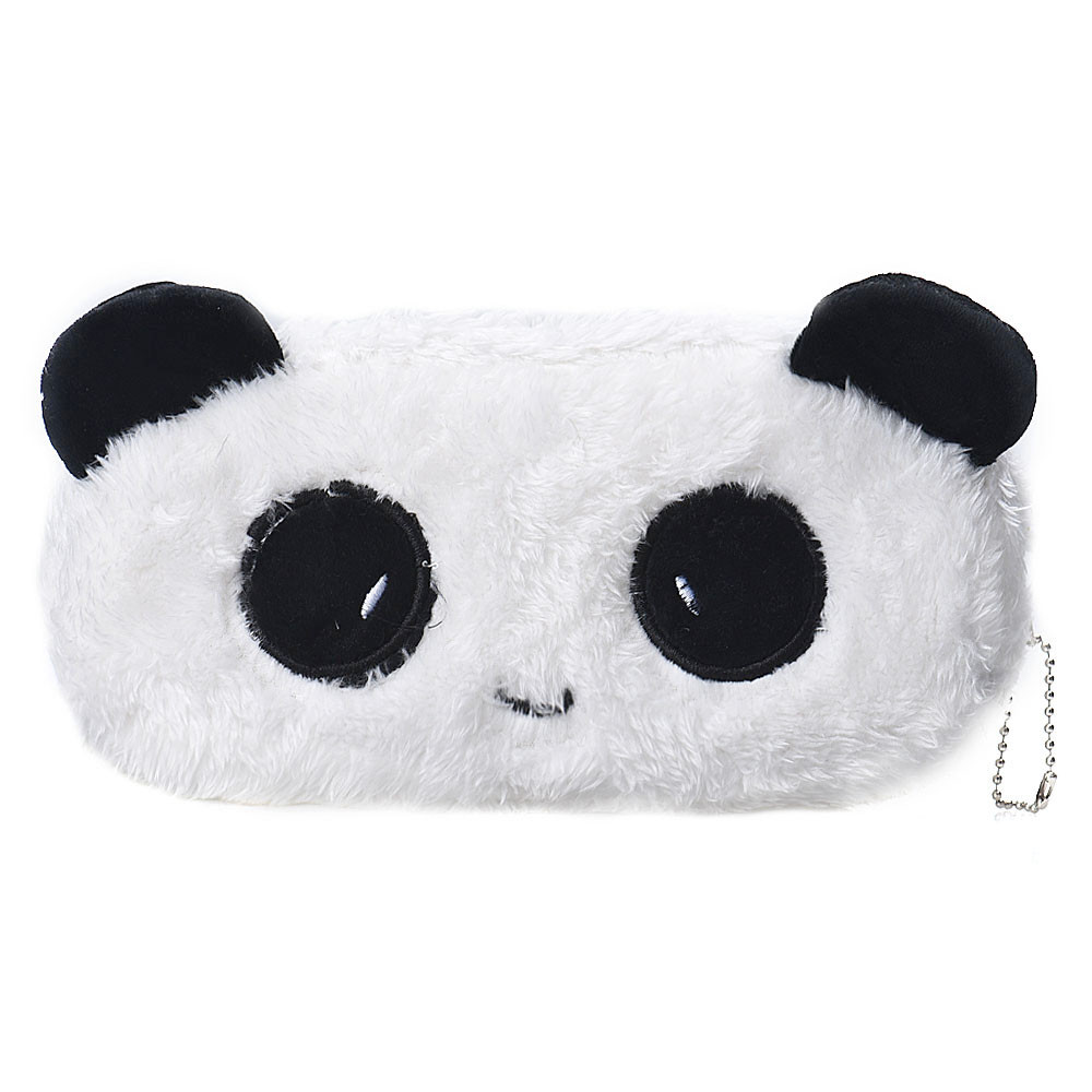 1 Pcs Cute Cartoon Panda Pencil Case  White Plush Large Pen Bag For Kids Gift School Stationery Supplies Tool