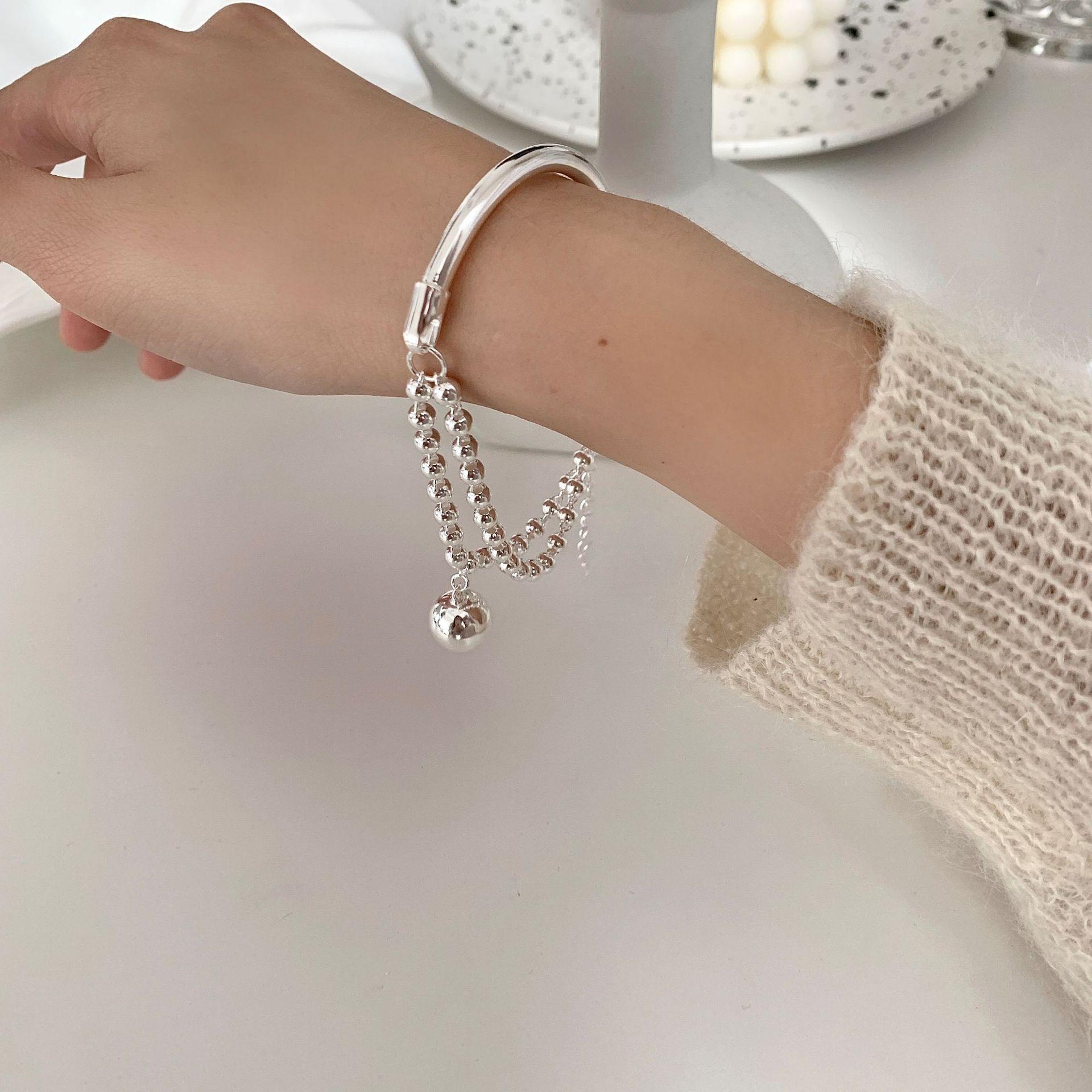 S925 Sterling Silver Bracelet For Women Korean Ball Bracelet Simple Student Bracelet Jewelry Wholesale