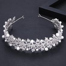 Janekelly Crystal Pearl Ladies Wedding Band Headpieces With cube zircon Bridal Hair Accessories Headdress Bridal Hair Tiaras