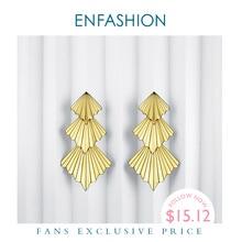 Enfashionトリプルファンドロップ女性のビッグゴールドカラーロングステートメントイヤリングファッションジュエリーoorbellenマシン用vrouwen ED1084