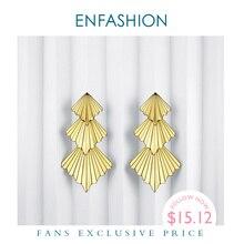Enfashion potrójny wentylator spadek kolczyki dla kobiet duże złote kolor długie oświadczenie kolczyki biżuteria Oorbellen Voor Vrouwen ED1084