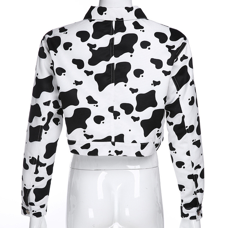Focal20 Streetwear Black and White Cow Print Women Jacket Turn Down Collar Loose Women Jacket Autumn Color Block Lady Jacket 4