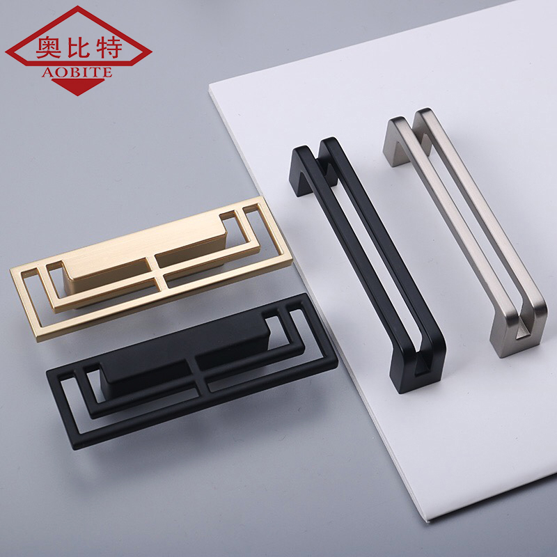 AOBT New Chinese Double Handle Door Zinc Alloy Brushed Matte Black Hollow Handle Bookcase Drawer Handle Knobs Handle Hardware