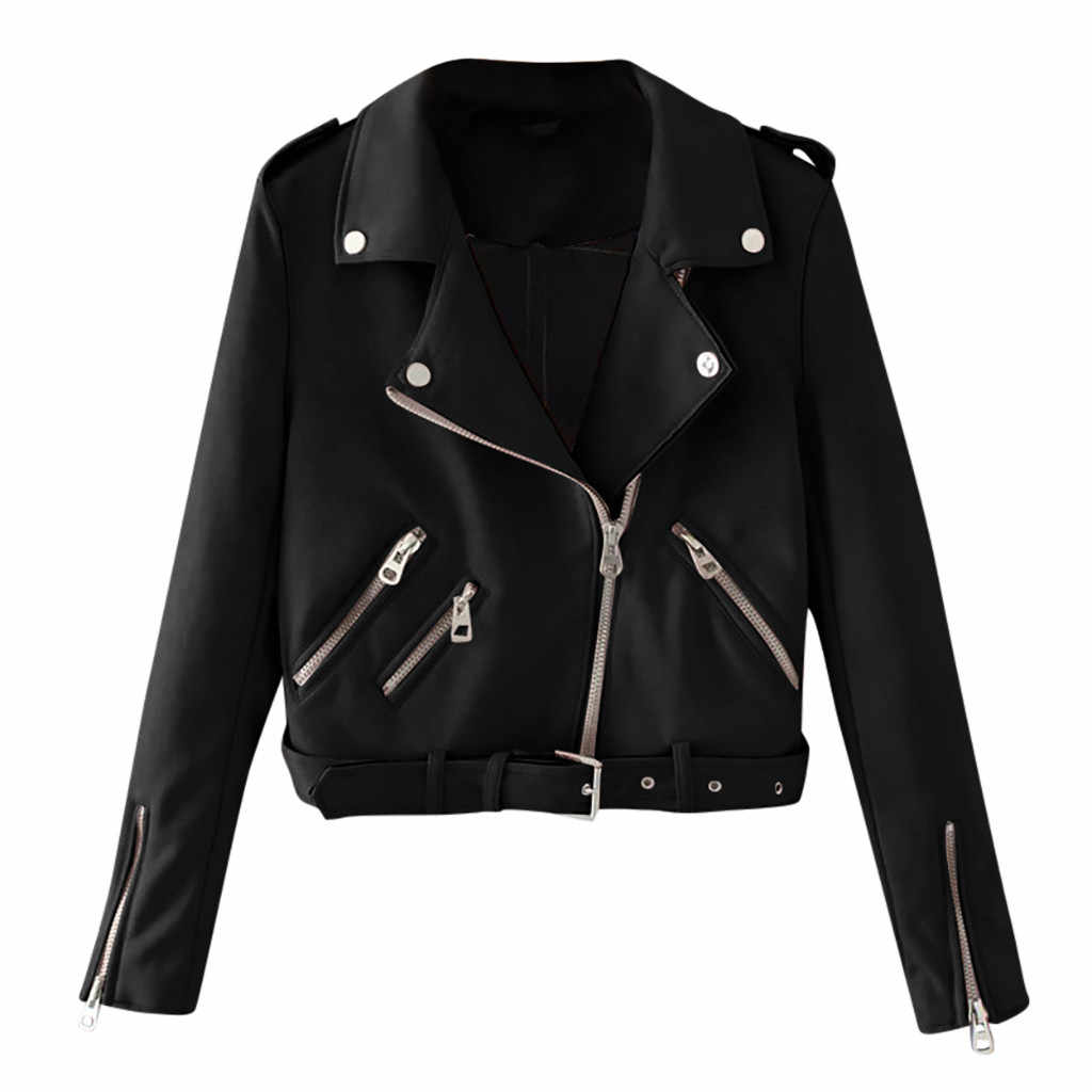2019 New Fashion Women Autumn Winter Black Faux Leather Jackets Zipper Basic Coat Turn-down Collar Riding motorcycle coat A12