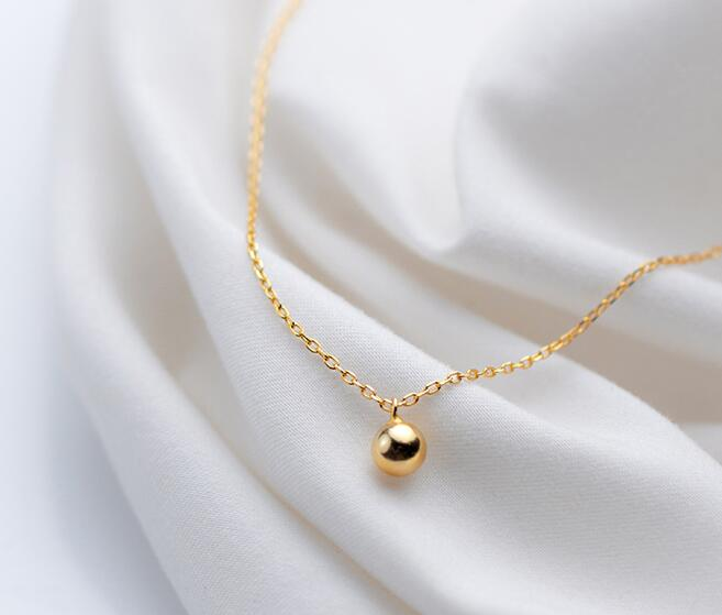 5mm small 18K Gold Plated 100% real Sterling Silver 925 Fine Jewelry Gold Polished Round Lucky Ball Pendant Necklace GTLX1993 image