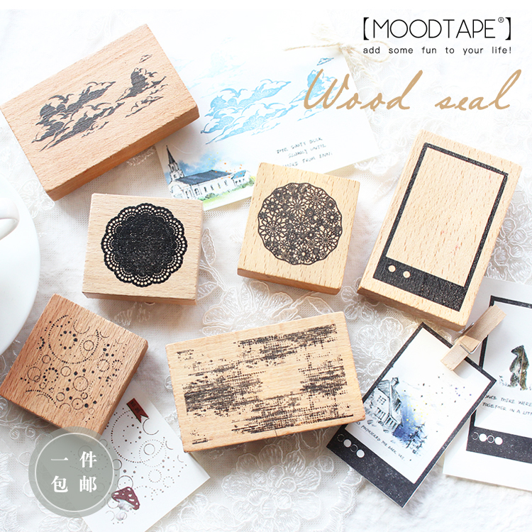 Moodtape Vintage Wood Clear Stamp For DIY Scrapbooking/photo Album Decorative Stamp Lace Cloud  Spot  Rubber Stamp Seal