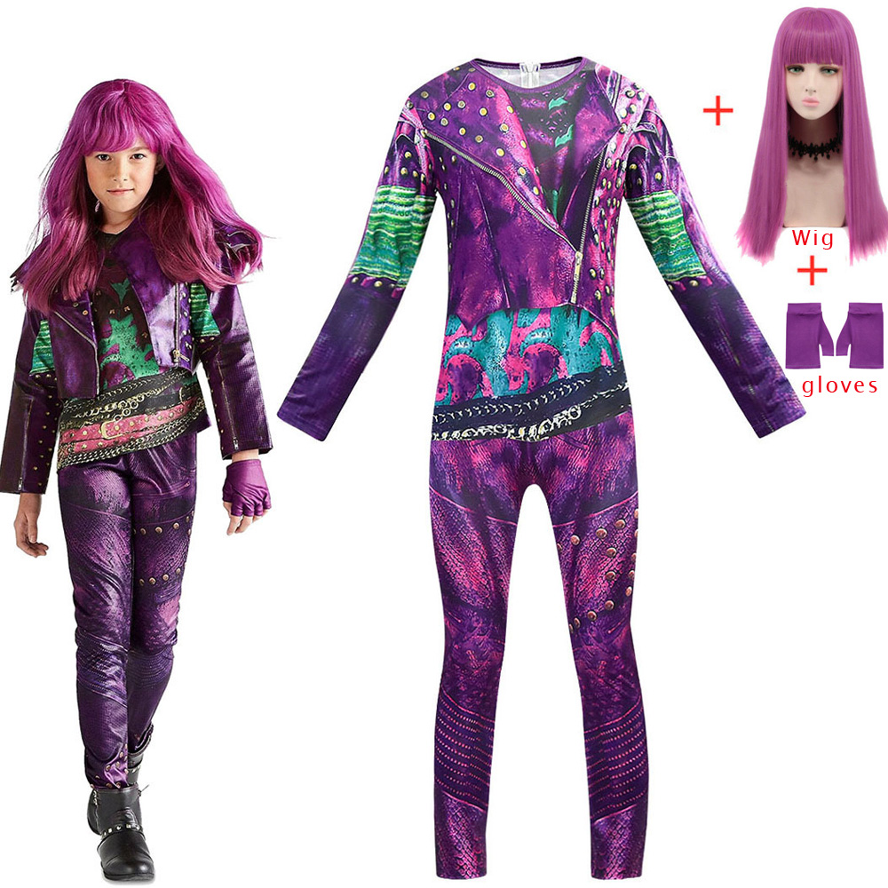2019 Descendants 3 Mal Bertha Maleficent Long Live Evil Straight Purple Girls Cosplay Wig + Jumpsuits halloween costume for kids