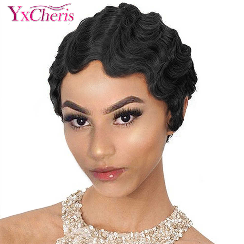 Short Curly Wigs for Black Women Retro Wig Female Synthetic Hair Finger Wave Wig Cosplay