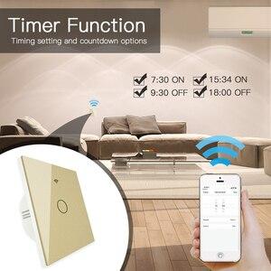 Image 5 - Goud Wifi Slimme Lichtschakelaar RF433 Draadloze Afstandsbediening Glass Panel Light Switch Werkt Met Alexa Echo Google Home 1 /2/3 Gang