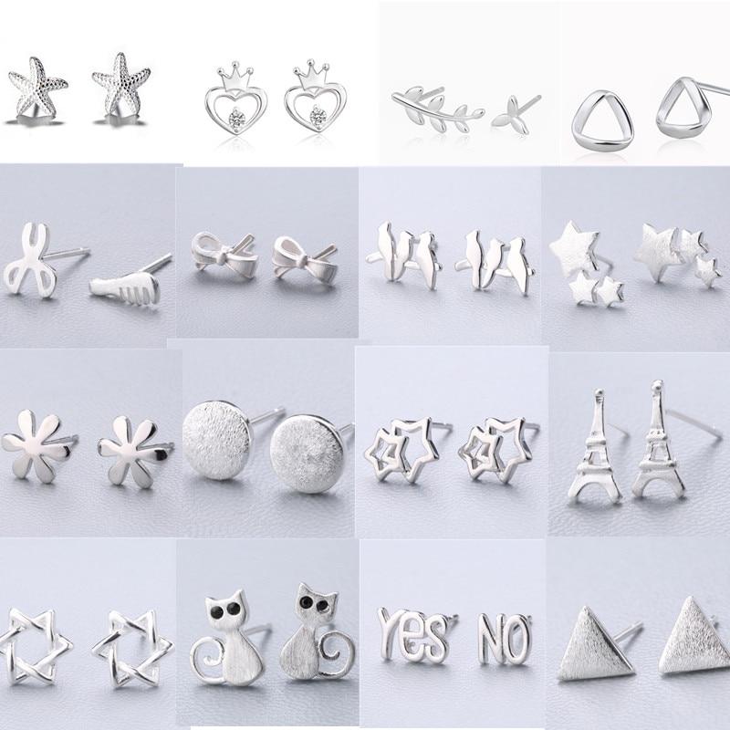 Fashion Jewelry 925 Sterling Silver Cross Star Crown Leaf Stud Earrings For Women Kids pendientes oorbellen