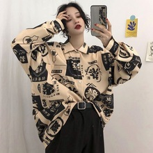 2020 streetwear Harajuku blouse couple shirt women men Clothing Blouses bf long shirts spring autumn turn-down collar casual Top