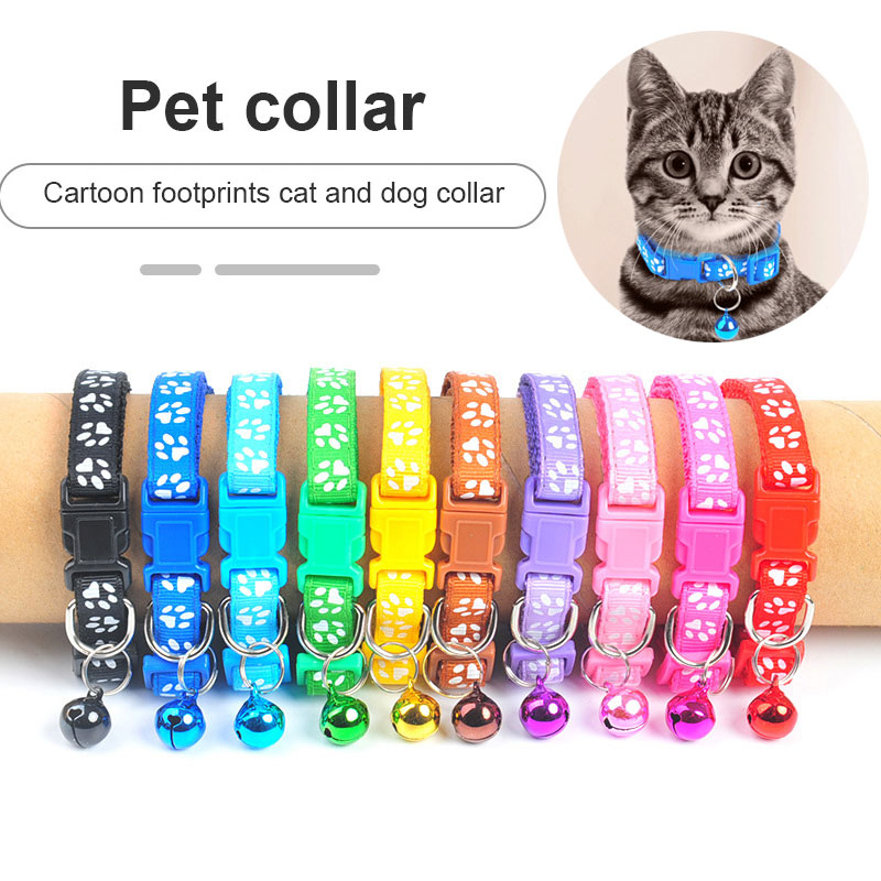 Novo bonito colar de sino para gatos coleira de cachorro teddy bomei cão dos desenhos animados engraçado pegada coleiras leva acessórios de gato bens animais