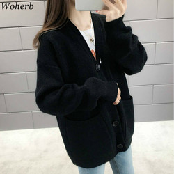 Woherb Black Knitted Sweater Women V Neck Long Sleeve Solid Color Cardigan Vintage Harajuku Casual Loose Tops Fashion New 90728 2