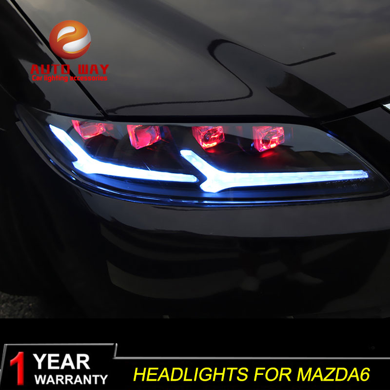 Car Styling Head Lamp case for mazda6 <font><b>mazda</b></font> <font><b>6</b></font> M6 Headlights 2003-2015 <font><b>LED</b></font> mazda6 Headlight Daytime Running <font><b>Light</b></font> image