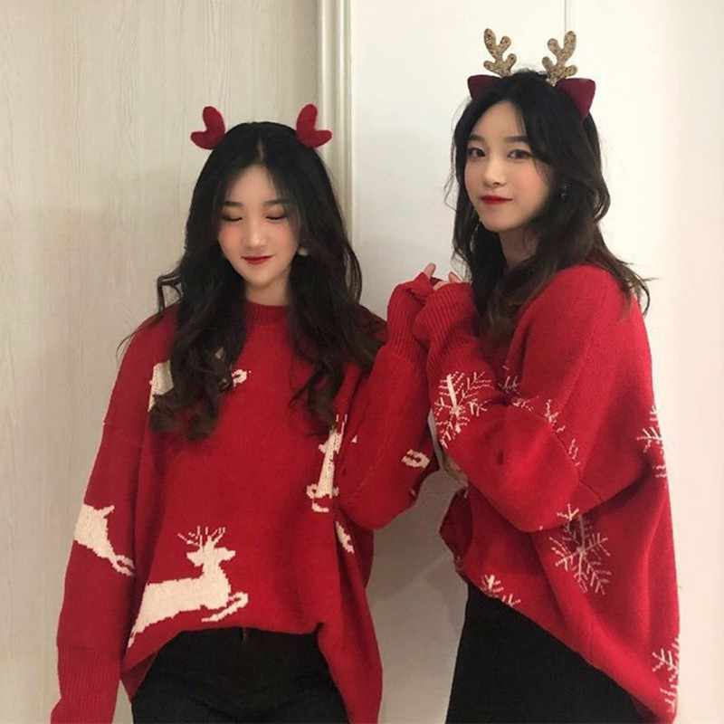 Christmas Women Red Sweaters Oversize Knitted Loose Kawaii Warm Pullover Long Sleeve Harajuku Pull Femme Autumn Winter Jumpers